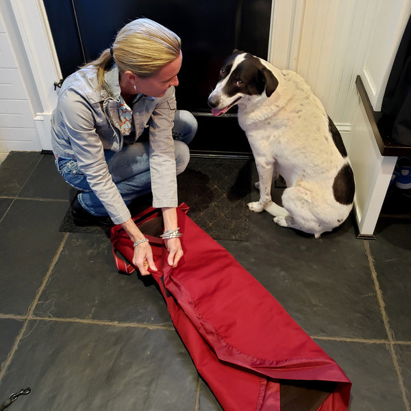 "Lay-n-Go Travel Dog Bed (44"") : Burgundy & Chocolate"