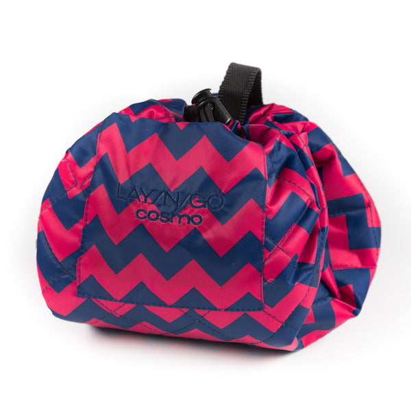 "Lay-n-Go COSMO (20"") Pink Chevron Cosmetic Bag Shown Closed"