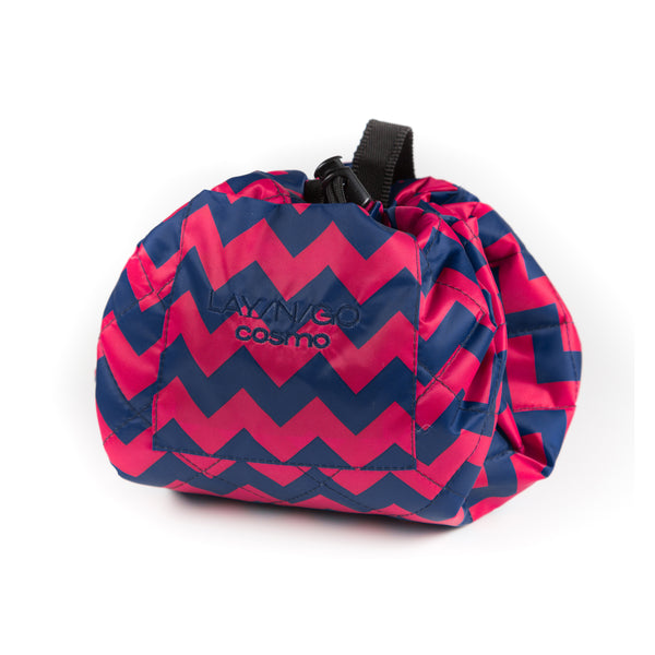 "Lay-n-Go COSMO Plus (21"") chevron cosmetic bag shown completely closed"