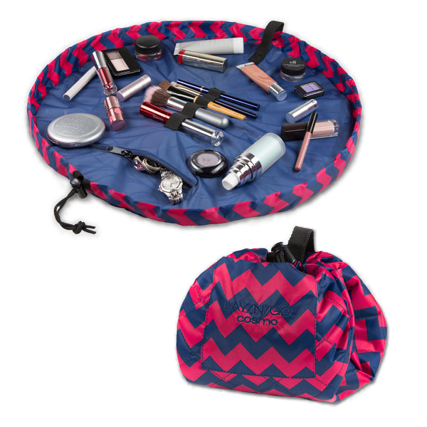 "Lay-n-Go COSMO Plus (21"") chevron cosmetic bag shown open and closed"
