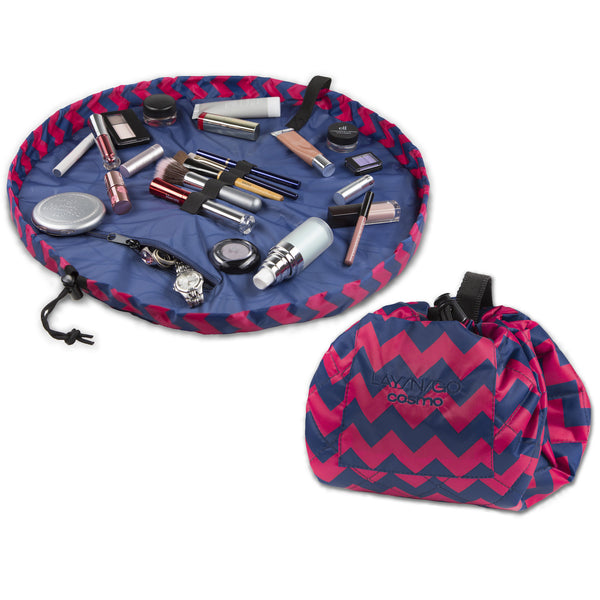 "Lay-n-Go COSMO (20"") Pink Chevron Cosmetic Bag Shown Open and Closed"