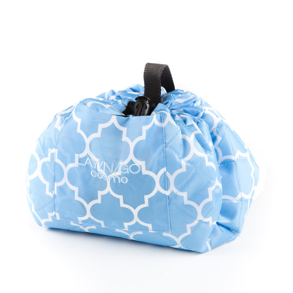 "Lay-n-Go COSMO (20"") Serene Blue / White Moroccan Cosmetic Bag Shown Closed"
