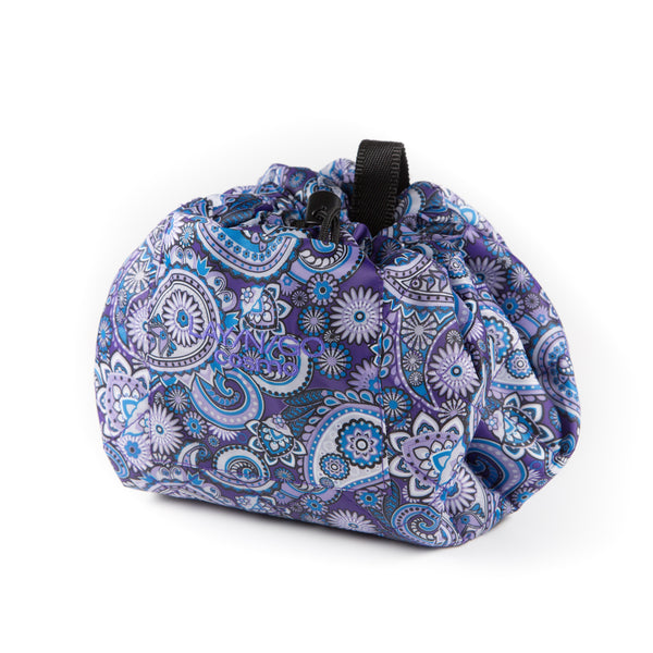 "Lay-n-Go COSMO Plus (21"") paisley cosmetic bag shown completely closed"