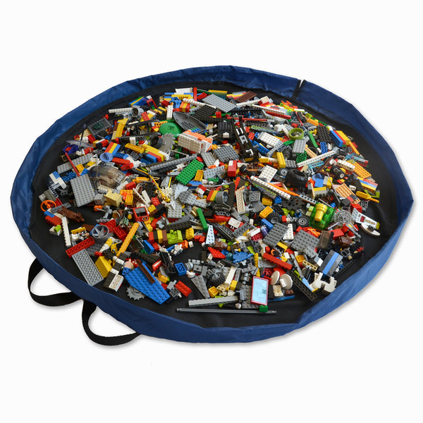 "Black and Blue Lay-n-Go CINCH (44"") backpack shown open keeping LEGO neatly inside"