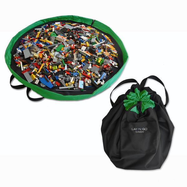 "Black and Green Lay-n-Go CINCH (44"") backpack open and closed with LEGO organized inside"