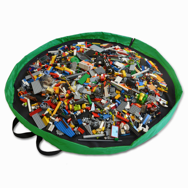 "Black and Green Lay-n-Go CINCH (44"") backpack shown open keeping LEGO neatly inside"