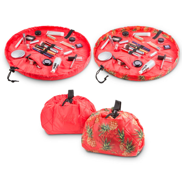 "Set of two Lay-n-Go COSMO Plus (21"") Pineapple and Coral Cosmetic bags Shown Open and Closed"