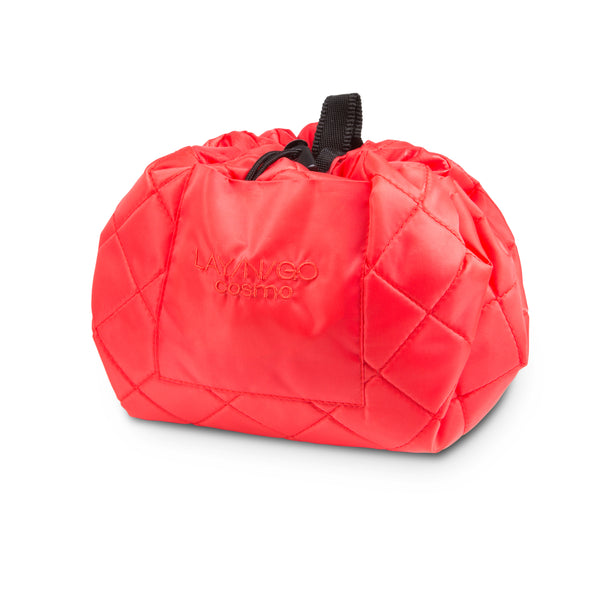 "Lay-n-Go COSMO Plus (21"") Coral Cosmetic Bag Shown Completely Closed"