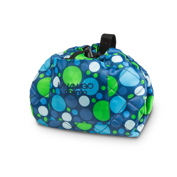 "Lay-n-Go COSMO Plus (21"") polka dot cosmetic bag shown completely closed"