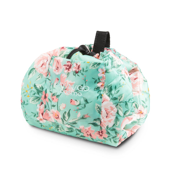 "Lay-n-Go COSMO Plus (21"") floral cosmetic bag shown completely closed"