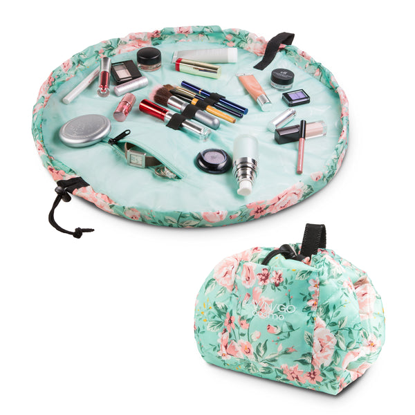 "Lay-n-Go COSMO Plus (21"") floral cosmetic bag shown open and closed"