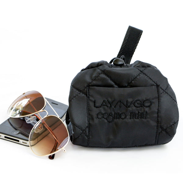 "Lay-n-Go COSMO mini (13"") black cosmetic bag is compact and completely closes for life on the go"
