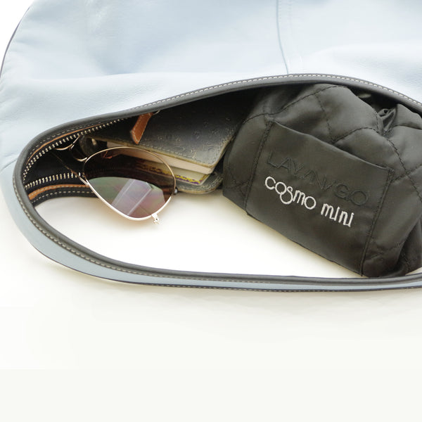 "Lay-n-Go COSMO mini (13"") black cosmetic essentials bag is a perfect addition to any satchel or purse"