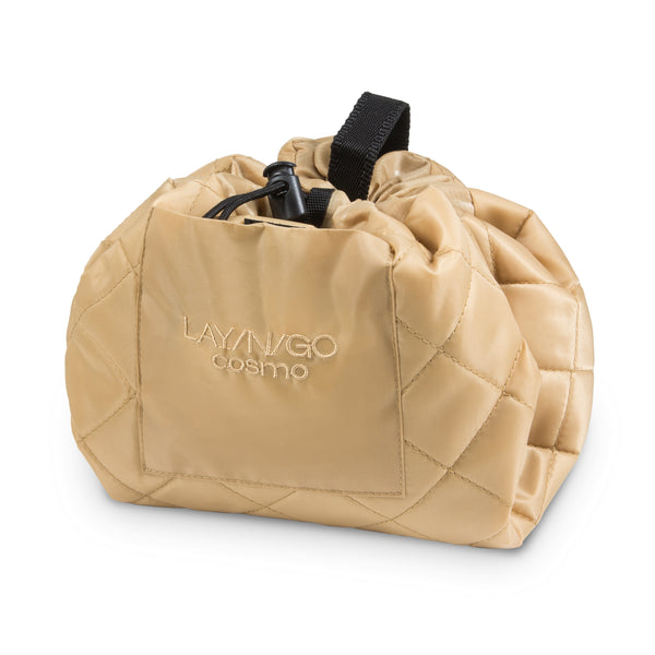"Lay-n-Go COSMO Plus (21"") Sand Cosmetic Bag Shown Completely Closed"