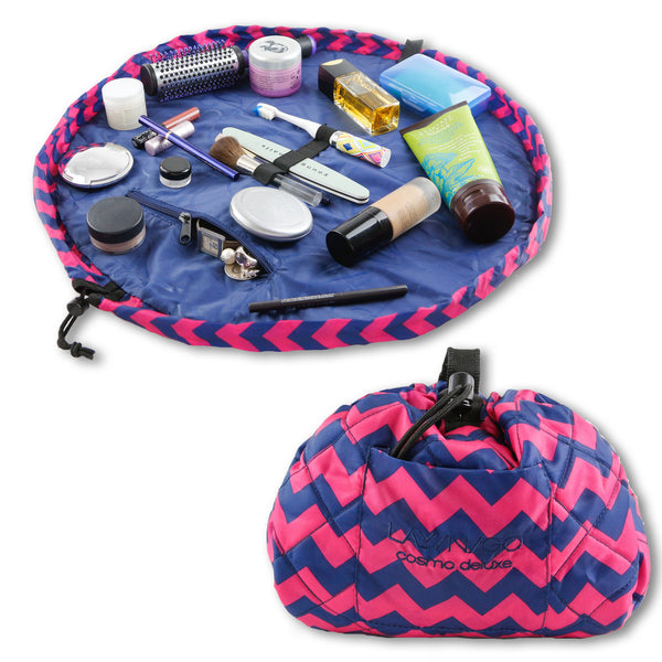 "Lay-n-Go COSMO Deluxe (22"") Chevron Cosmetic Bag Shown Open and Closed"