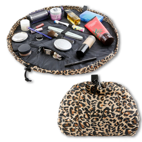 "Lay-n-Go COSMO Deluxe (22"") Leopard Cosmetic Bag Shown Open and Closed"