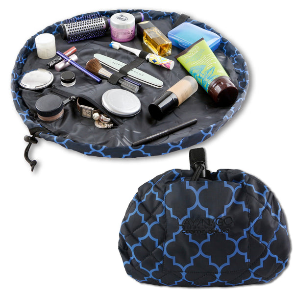 "Lay-n-Go COSMO Deluxe (22"") Moroccan Cosmetic Bag Shown Open and Closed"