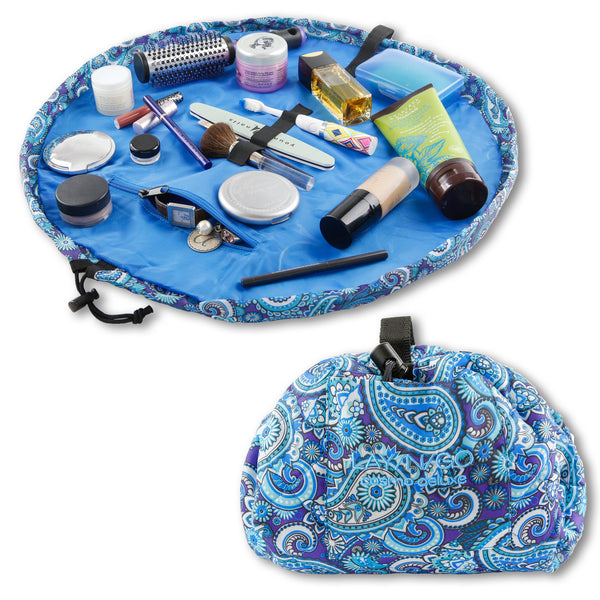 "Lay-n-Go COSMO Deluxe (22"") Paisley Cosmetic Bag Shown Open and Closed"