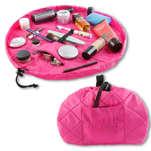 "Lay-n-Go COSMO Deluxe (22"") Pink Cosmetic Bag Shown Open and Closed"