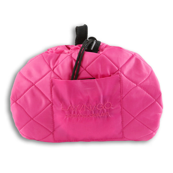 "Lay-n-Go COSMO Deluxe (22"") Pink Cosmetic Bag Shown Closed"