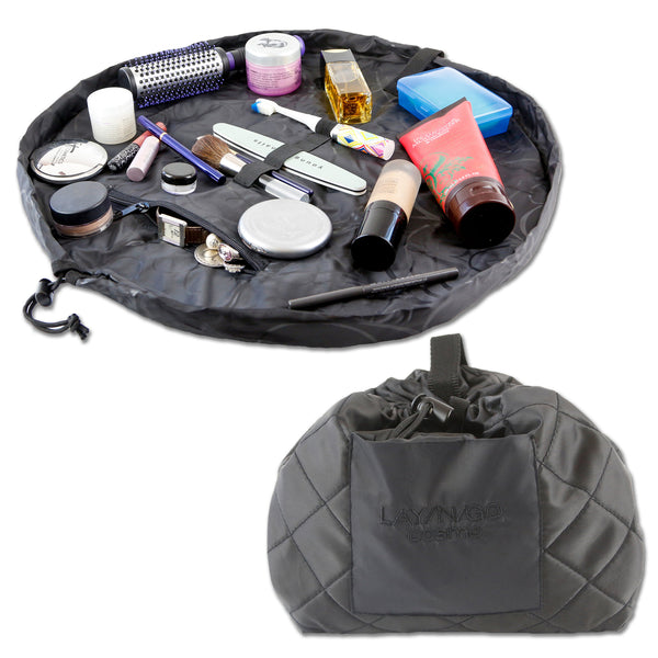 "Lay-n-Go COSMO Deluxe (22"") Black Cosmetic Bag Shown Open and Closed"