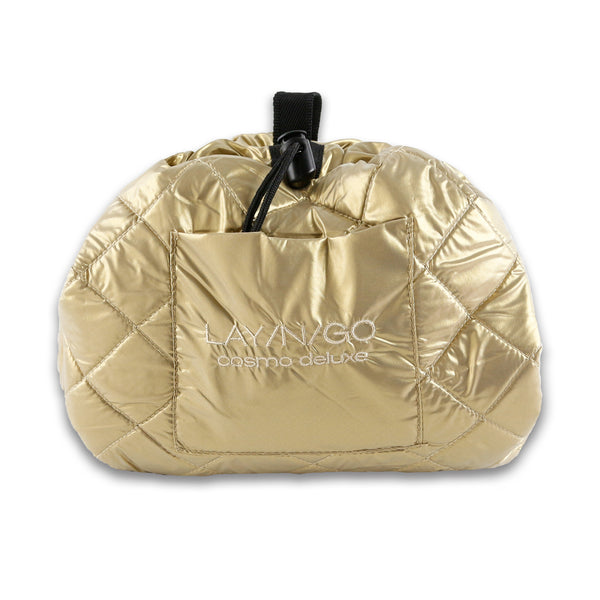 "Lay-n-Go COSMO Deluxe (22"") Gold Cosmetic Bag Shown Closed"