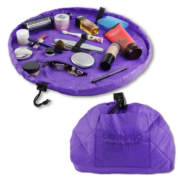"Lay-n-Go COSMO Deluxe (22"") Purple Cosmetic Bag Shown Open and Closed"