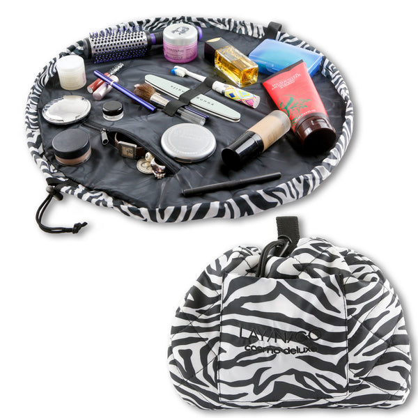 "Lay-n-Go COSMO Deluxe (22"") Zebra Cosmetic Bag Shown Open and Closed"