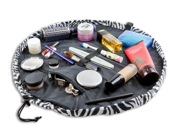 "Lay-n-Go COSMO Deluxe (22"") Zebra Cosmetic Bag Shown Open"