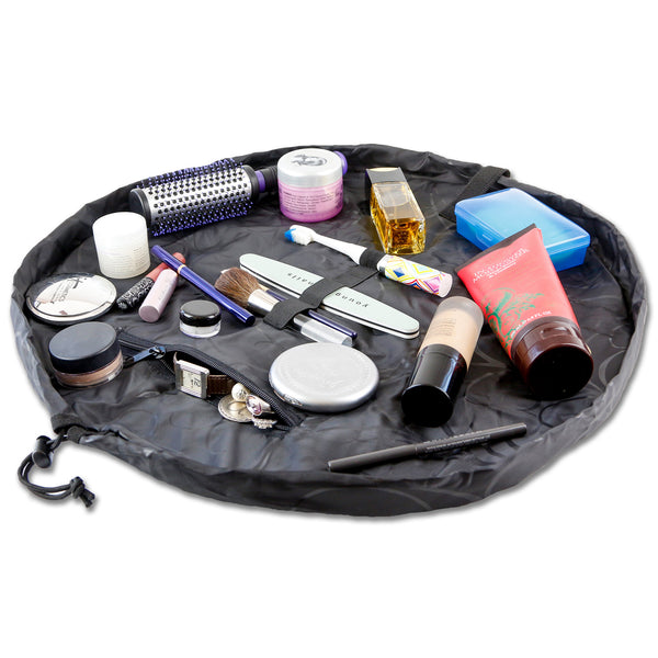 "Lay-n-Go COSMO Deluxe (22"") Black Cosmetic Bag Shown Open"