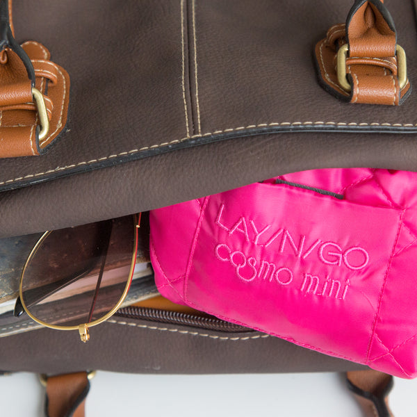 "Lay-n-Go COSMO mini (13"") pink cosmetic essentials bag is a perfect addition to any satchel or purse"