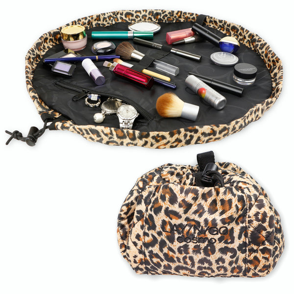 "Lay-n-Go COSMO Plus (21"") leopard cosmetic bag shown open and closed"
