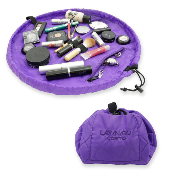 "Lay-n-Go COSMO Plus (21"") purple cosmetic bag shown open and closed"