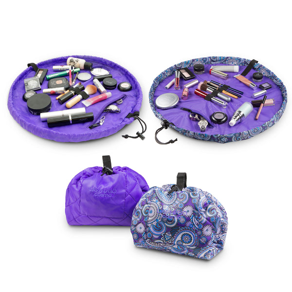 "Set of two paisley and purple Lay-n-Go COSMO Plus (21"") cosmetic bags for home or travel"