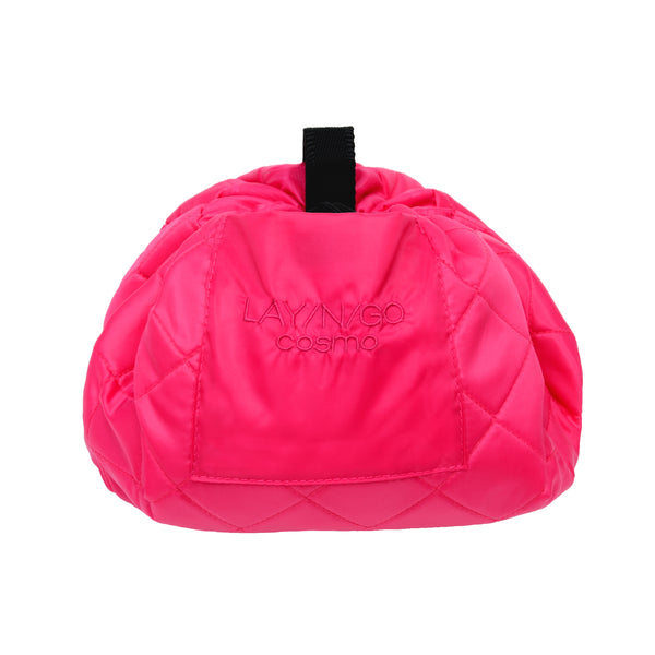 "Lay-n-Go COSMO Plus (21"") pink cosmetic bag shown completely closed"