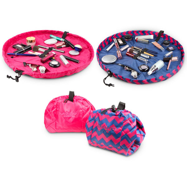 "Set of two Lay-n-Go COSMO Plus (21"") Pink and Chevron cosmetic bags Shown Open and Closed"