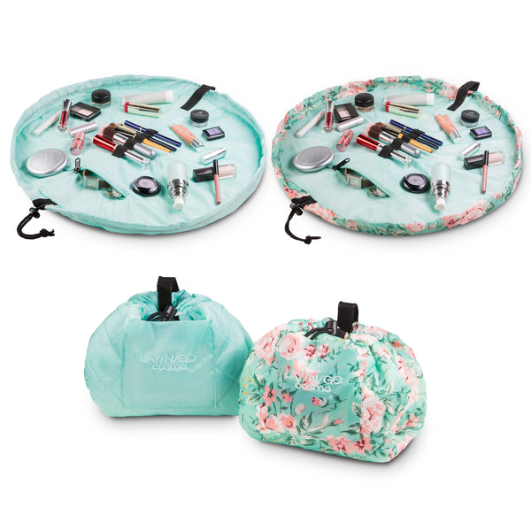 "Set of two Lay-n-Go COSMO Plus (21"") Floral and Seafoam Cosmetic Bags Shown Open and Closed"