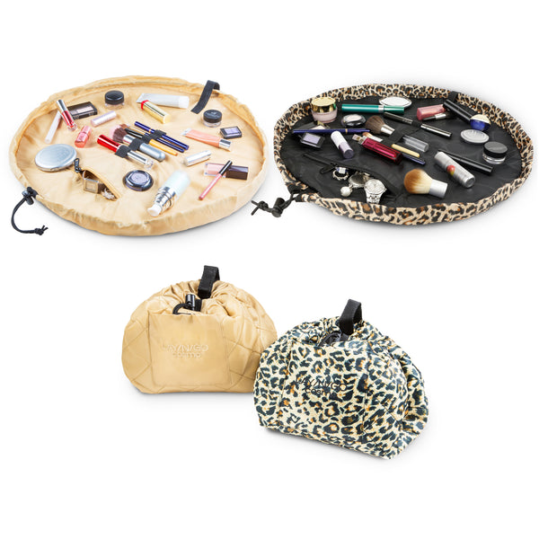 "Set of two Lay-n-Go COSMO Plus (21"") Leopard and Sand Cosmetic bags Shown Open and Closed"