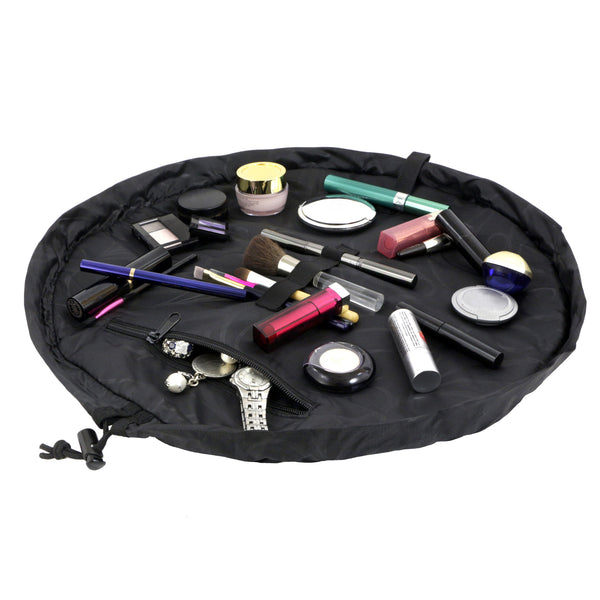 "Lay-n-Go COSMO (20"") Black Cosmetic Bag Shown Open"