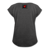 """LIVE4IRON"" Women's Roll Cuff T-Shirt - heather black"