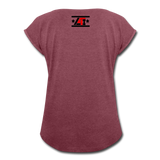 """LIVE4IRON"" Women's Roll Cuff T-Shirt - heather burgundy"