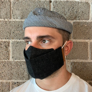 Phoenix General | Origami Denim Face Mask - Black, Leather & Cord | Men's Accessories - Mask | Phoenix General Store