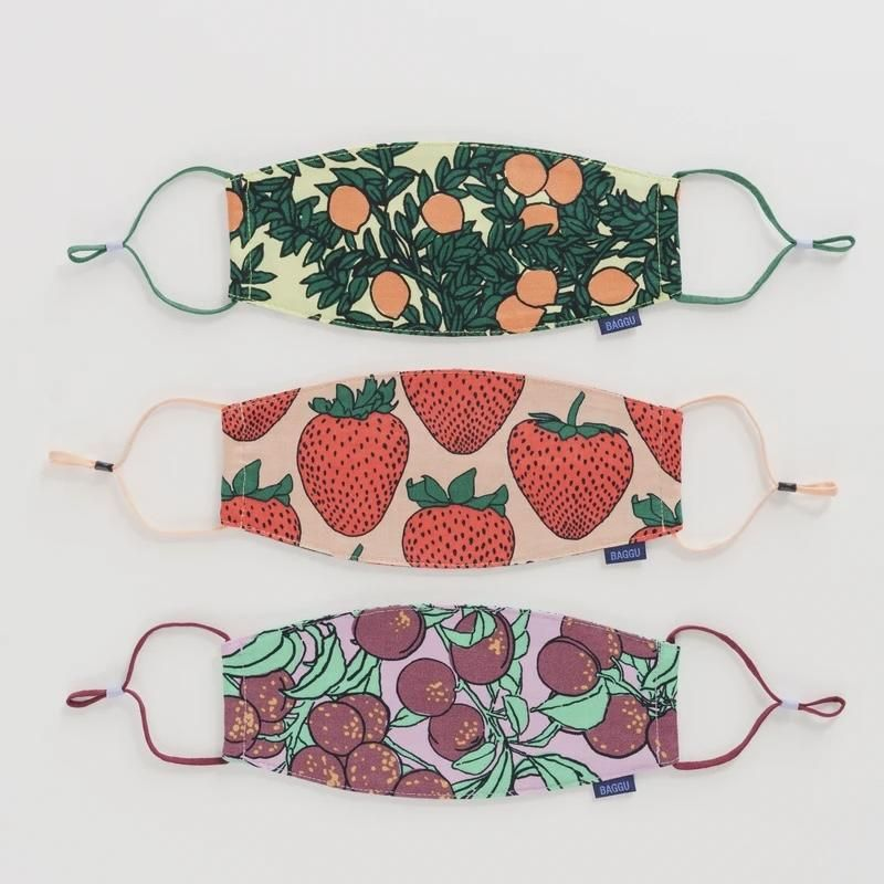Baggu Fabric Ear Loop Mask Set - Backyard Fruit