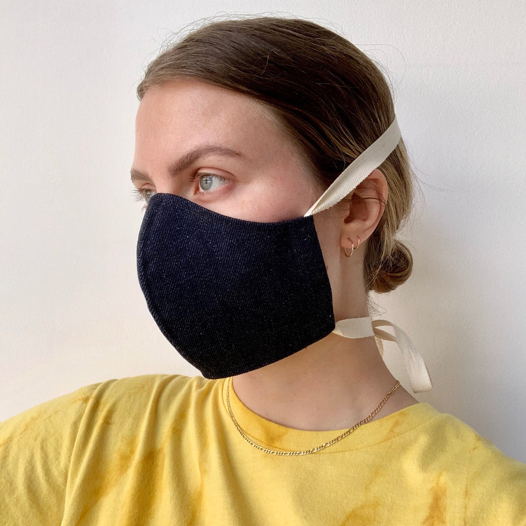 Phoenix General | Denim Face Mask - White String | Men's Accessories - Mask | Phoenix General Store
