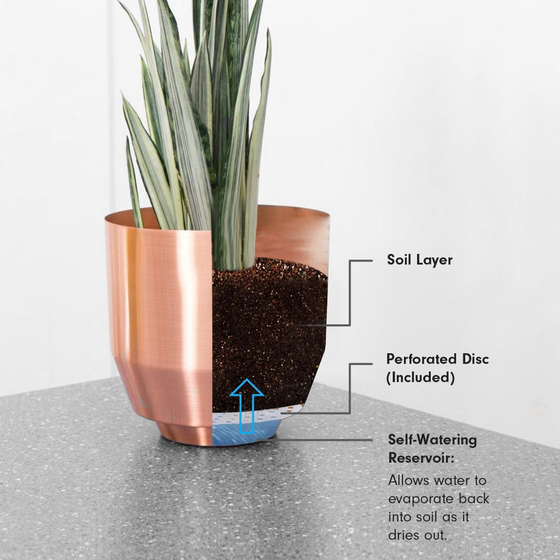 "Yield 8"" Spun Planter - Copper - Phoenix General"