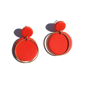 Sigfus Disk Earrings - Red Orange