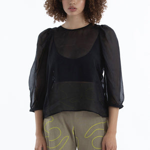 Ali Golden Peasant Top - Black