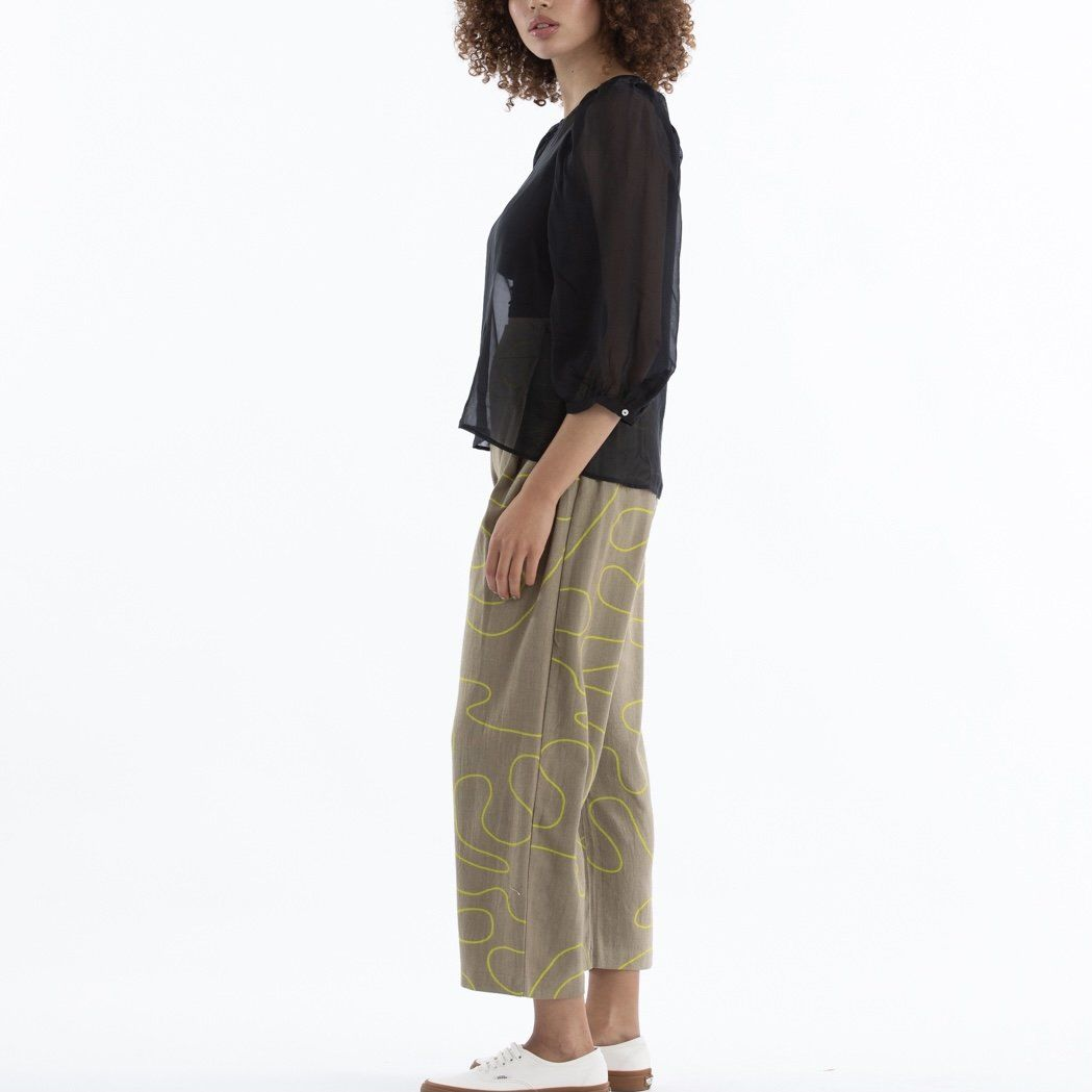 Ali Golden Pleated Pants - Khaki Squiggle