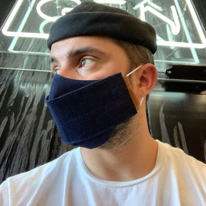 Phoenix General | Origami Denim Face Mask - Leather & Cord | Men's Accessories - Mask | Phoenix General Store