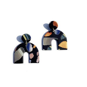 Sigfus Chunky Arch Earrings - Black Terrazzo
